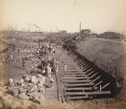 Trench for east wall immediately behind dam of Nicol Basin, looking north [Victoria Dock construction, Bombay].
